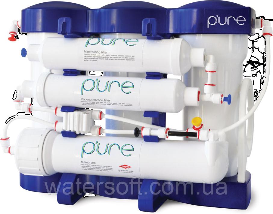 Система обратного осмоса P'ure Ecosoft с минерализацией и помпой