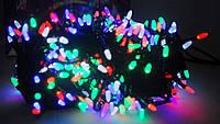 Новогодняя  гирлянда микс4х цветная,400 лед,матовых светодиода в виде маленькой свечи,20 метров,черный провод