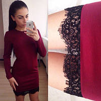 Красивое платье с французским кружевом марсала