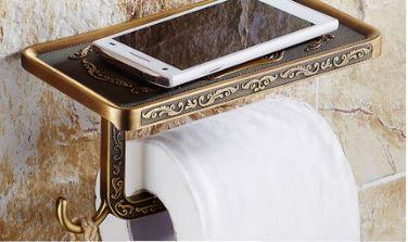 Элитный держатель для туалетной бумаги в рулонах с полочкой бронза 0265