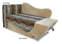 Диван детский Эльф 700х2000 мм, ткань Лео леопард, Финт карамель