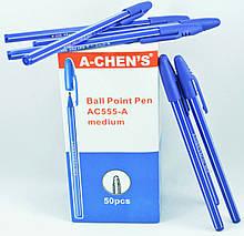 Ручка кулькова AC-555 синя A-S CHEN'