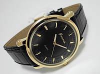 Часы классические Guardo Classic,  Made in Italy, цвет золото, черный ремешок и циферблат