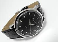 Часы классические Guardo Classic,  Made in Italy, цвет серебро, черный ремешок и циферблат