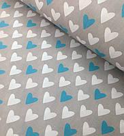 Хлопковая ткань польская сердечки бирюзово-белые на сером