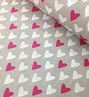 Хлопковая ткань польская сердечки малиново-белые на сером