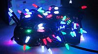 Новогодняя разноцветная елочная LED гирлянда 100 диодов конус 8мм,черный кабель,6 метров