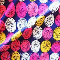 Трикотажное полотно стрейч вискоза набивное (с рисунком), цветные клубочки