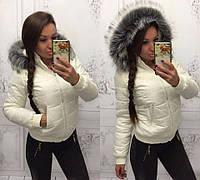 """Демисезонная  короткая женская куртка """"Аляска"""" Молочная"""