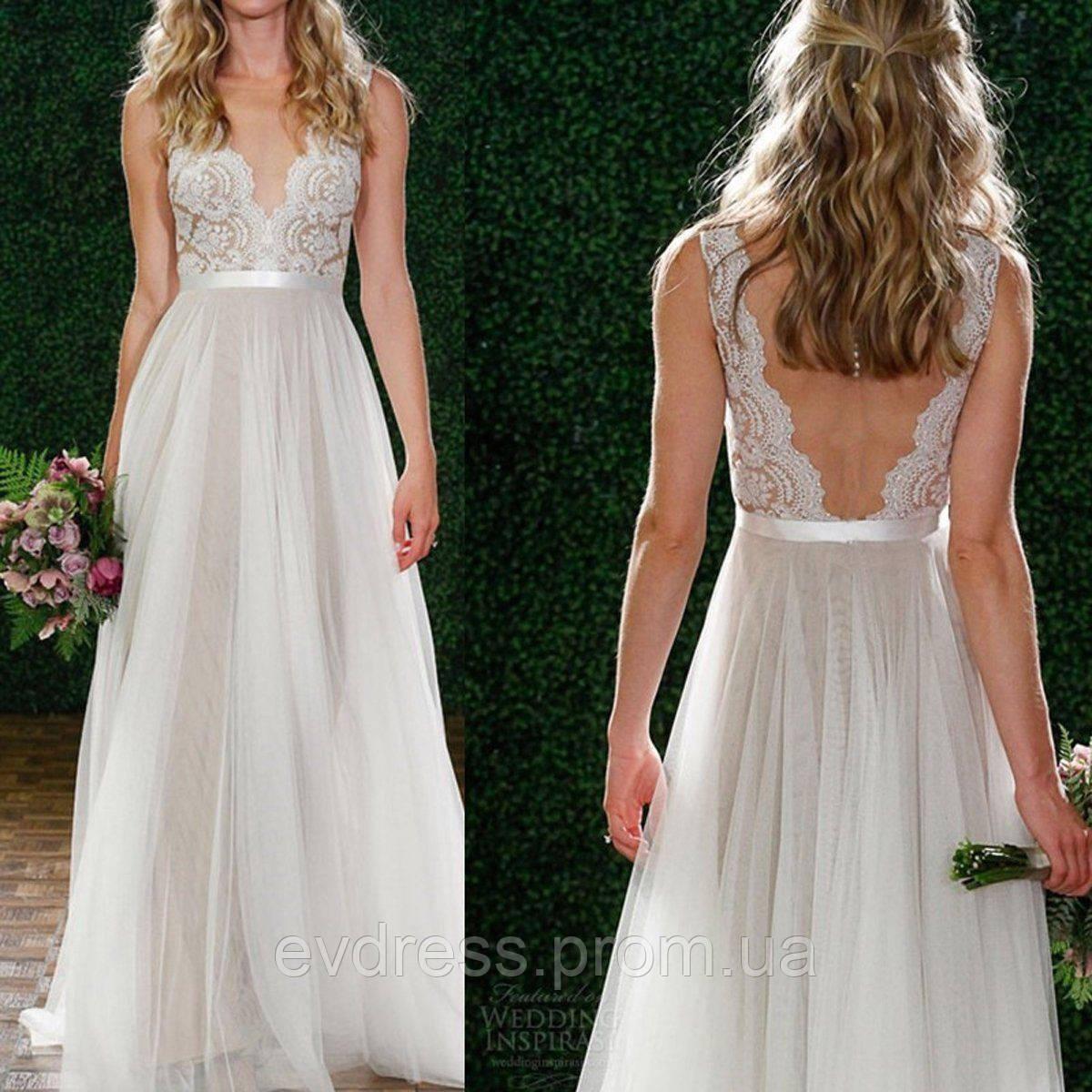 720041b1102 Пышное Свадебное Платье в Пол Гипюр Шифон Выпускное V-вырез и Открытая Спина