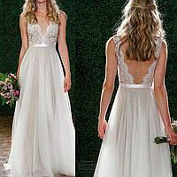 Пышное Свадебное Платье в Пол Гипюр Шифон Выпускное V-вырез и Открытая Спина
