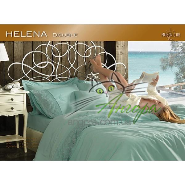 """Постільна білизна сатин з мереживом Maison d'or """"Helena"""" Turkuaz"""