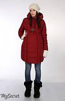 Зимнее пальто для беременных Neva р. 44-50 (обычное пальто, пальто для беременных) ТМ Юла Мама бордо OW-15.063