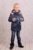 Утепленная куртка - плащ (парка) для мальчика 4-8 лет, р. 110-128 ТМ Модный карапуз (03-00450-0)