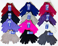 Перчатки детские одинарные с начёсом Корона, однотонные, цветные, размер S и M, 5063