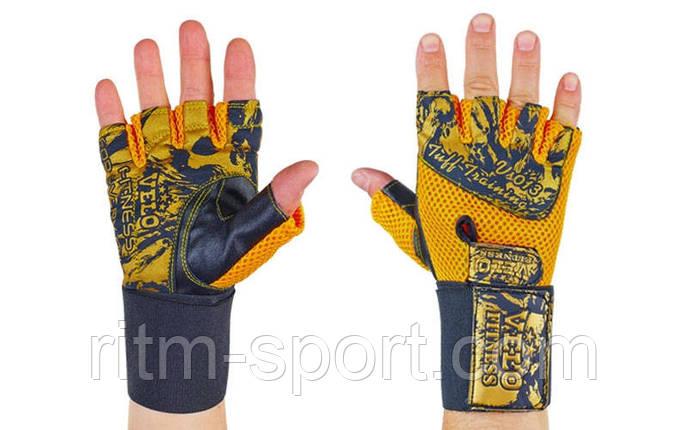 Рукавички для важкої атлетики з напульсником (шкіра), фото 2