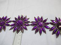 """Тесьма зі стразами """"Квітка""""  фіолетова 6 см."""