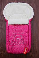 Конверт-чехол в санки,коляску Монти ярко-розовый, фото 1