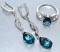 """Набор  """"серьги и кольцо"""",покрытие родием. Камень:белый и лазурный циркон. Высота серьги: 5,5 см Ширина: 10 мм"""