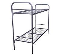 Кровать металлическая двухъярусная с металлическими спинками