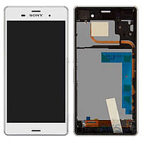 Дисплей (экран) для телефона Sony Xperia Z3 Dual D6633 + Touchscreen with frame Original White, фото 1
