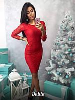 Красное вечернее платье гипюр ресничка