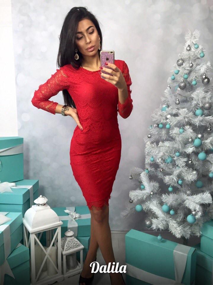 72672667180 Красное вечернее платье гипюр ресничка - Интернет-магазин