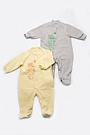 Комбинезон человечек для новорожденного теплый однотонный из футера унисекс (желтый)