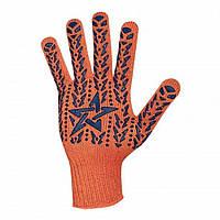 """Перчатка х/б трикотаж с точечным покрытием PVC на ладони (оранжевая) DOLONI """"10"""