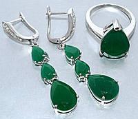 """Набор  """"серьги и кольцо"""",покрытие родием. Камень:белый и зелёный циркон. Высота серьги: 5 см Ширина: 10 мм"""