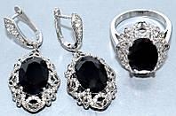 """Набор  """"серьги и кольцо"""",покрытие родием. Камень:белый и чёрный циркон. Высота серьги: 4 см Ширина: 19 мм"""