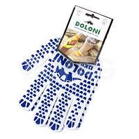 "Перчатка х/б трикотаж с точечным покрытием PVC на ладони (белые) DOLONI ""10"