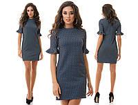 Трикотажное прямое платье с тисненым узором