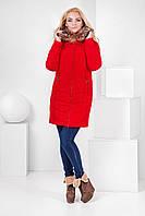Пальто зимнее женское с мехом енота 42 - 50 разные цвета