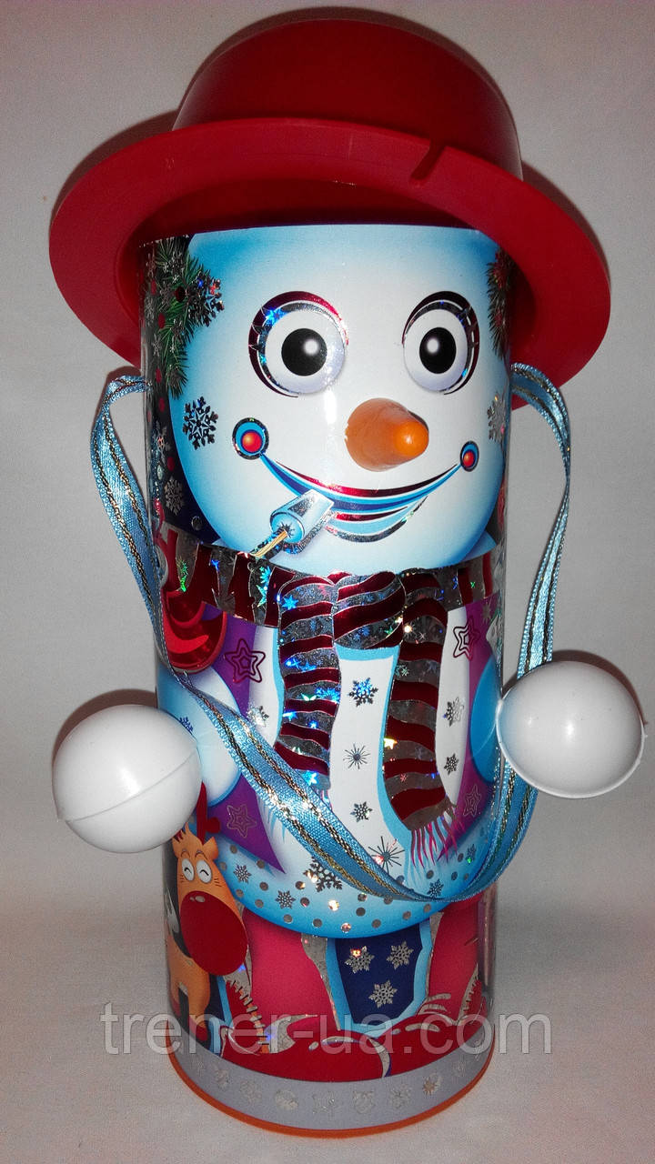 Новогодняя упаковка  картонный тубус Снеговик в шляпе 550-600 гр.