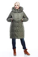 Длинное Пальто пуховик очень теплое зимнее женское с мехом песца большие размеры 50-60