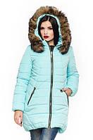 Женская бирюзовая зимняя куртка с натуральной опушкой Барбара 44-56 размеры