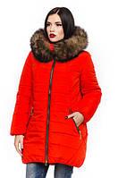 Женская коралловая зимняя куртка с натуральной опушкой Барбара 44-56 размеры