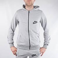 Чоловіча  спортивна кофта   на блискавці в стилі Nike (сіра) , фото 1