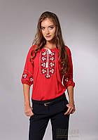 Женская красная блузка с вышивкой , фото 1