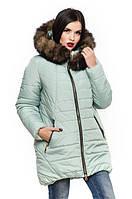 Женская фисташковая зимняя куртка с натуральной опушкой Барбара 44-56 размеры