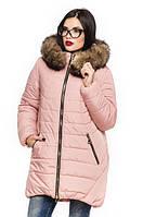 Женская зимняя куртка с натуральной опушкой Барбара пудра 44-56 размеры