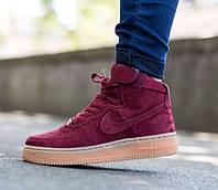 Кроссовки Nike Air Force бордовые высокие