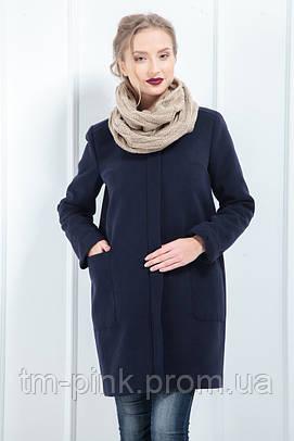 Жіноче пальто з кишенями утеплене кашемір синє