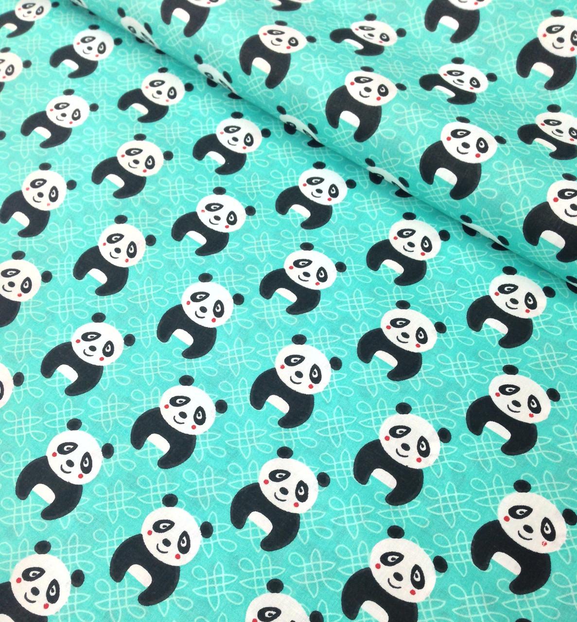 Хлопковая ткань польская панда на темно-мятном