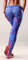 Женские яркие лосины для фитнеса (компресионные) Fitness Queen