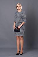 Деловое женское платье р.48-54 черно-белое V246-1