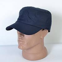 Мужская теплая кепка-немка на флисе с ушками, темно-синяя