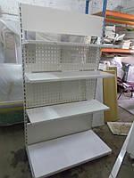 Стеллаж перфарированый торговый пристенный металлический стеллаж, стеллажи б у., фото 1