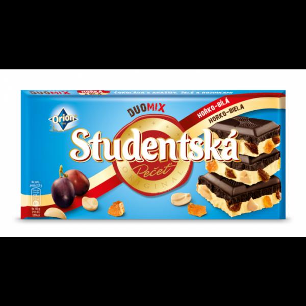 Шоколад Studentska Pecet Horko - Bila (Студентка молочный - черный - белый с арахисом) 180 г. Чехия